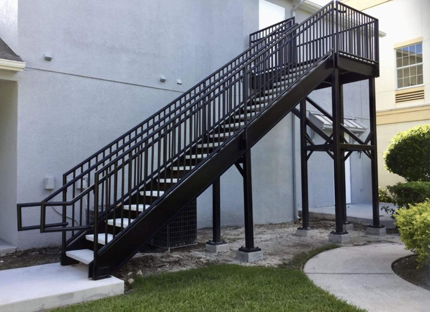 Steel stairways stairs railings florida fabrications - Metal railings for stairs exterior ...